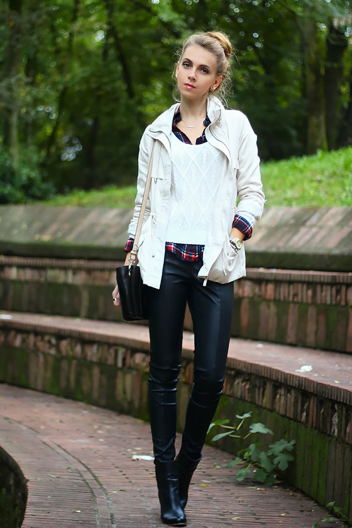 black  white with leather pants  karamode