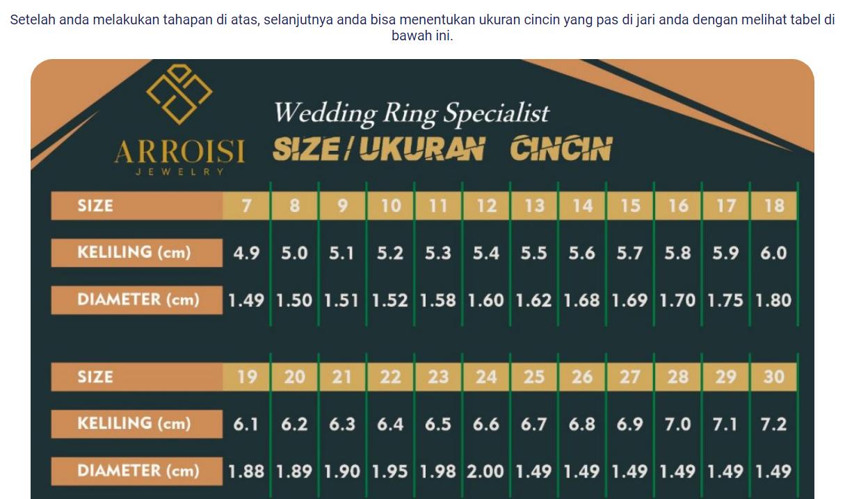 tabel ukuran cincin kawin