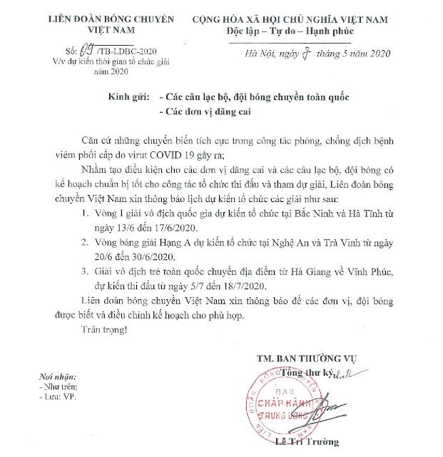 Sau dịch Covid19 - Bóng chuyền Việt Nam trở lại vào tháng 6