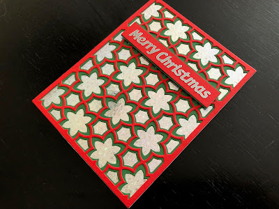 Hand made Christmas card in red, green and silver using the Birch Press Sevilla die cutting set.
