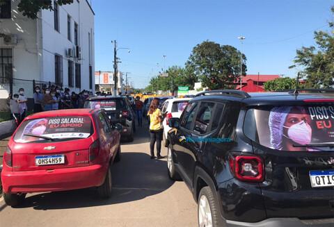 Profissionais da enfermagem protestam por aprovação de piso nacional e PCCR