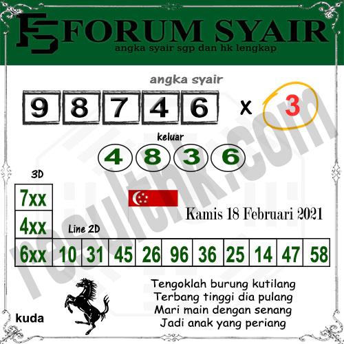 Forum Syair SGP Kamis 18 Februari 2021
