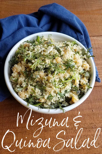 This Mediterranean style salad is loaded with the good stuff.  The hearty greens make it a perfect make ahead recipe. The quinoa and chickpeas add great protein and interest. A bit of feta adds that salty zing and the simple dressing brings it all together.