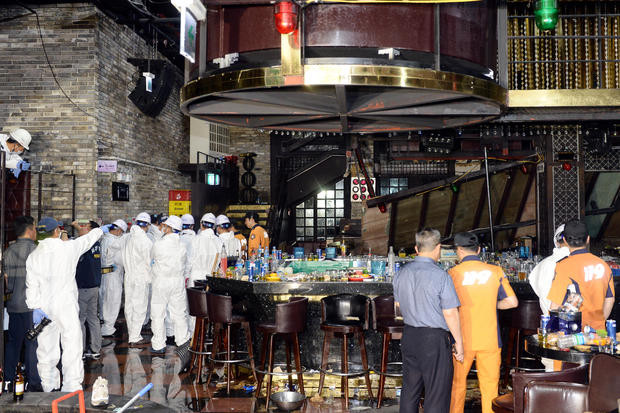 Two dead after the balcony of a nightclub collapsed in Korea