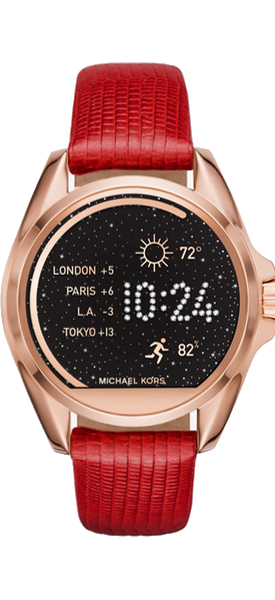 MICHAEL KORS ACCESS Bradshaw Gold-Tone Smartwatch Red Strap