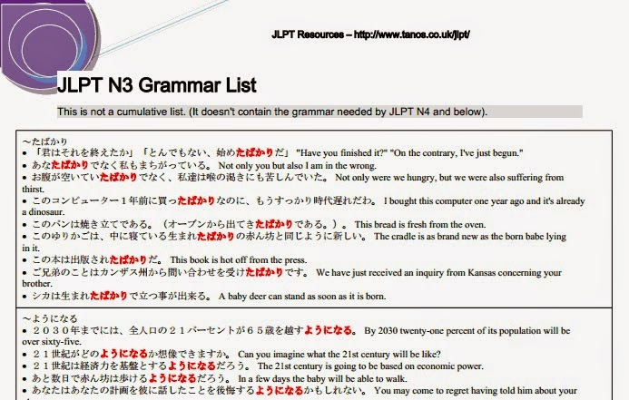 JLPTできる! JLPTに合格できる: JLPT N3 Last Minute Grammar