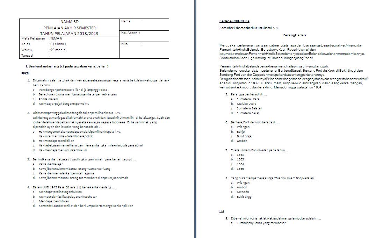 Soal Semester Kelas 6 Tema 6