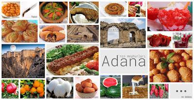 Adana'nın meşhur şeylerini gösteren resimlerden oluşan kolaj
