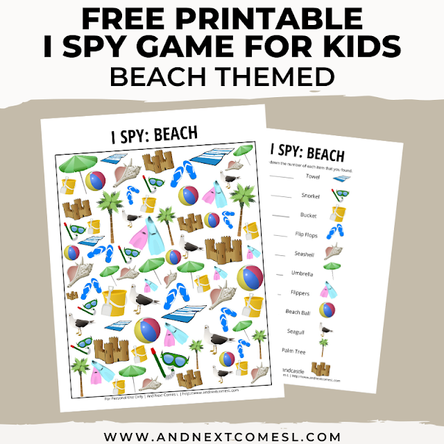 Free I spy game printable for kids: beach themed