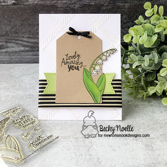 Lovely Amazing You by Becky features Little Lilies, Happy Little Thoughts, Plaid, Frames & Flags, and Fancy Edges Tag by Newton's Nook Designs; #newtonsnook