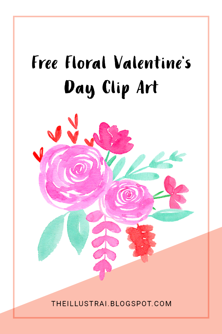 Download this free set of 10 individual watercolor floral elements perfect for all of your valentine crafts