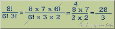 Exemplo de simplificação de fração com fatoriais