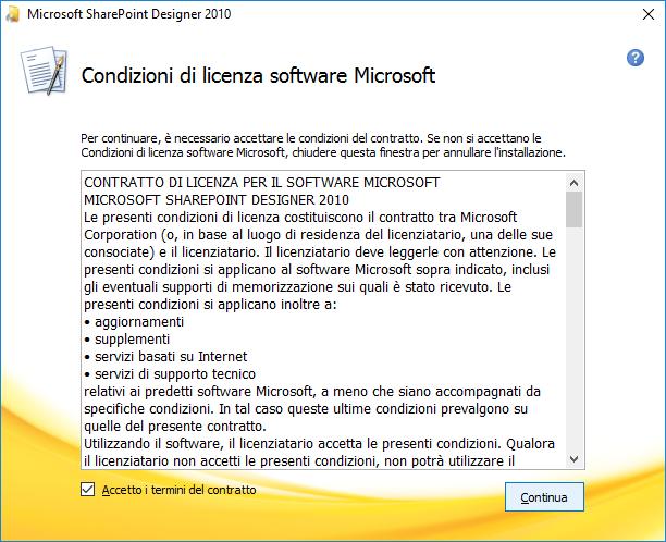Condizioni di licenza Microsoft SharePoint Designer 2010