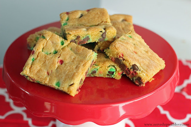 """Chocolate Chip """"Lazy"""" Cookie Bars recipe from Served Up With Love"""