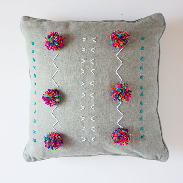 DIY Yarn Embroidered Pillows