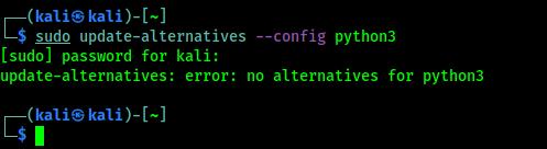 update-alternatives: error: no alternatives for python3