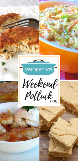 Weekend Potluck featured recipes include Magic Peach Cobbler, Southern Style Coleslaw, Old Fashioned Peanut Butter Fudge, Crispy Chicken Fritters, and so much more.