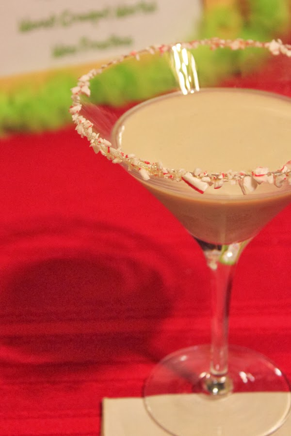 Holiday martini with candy cane rim
