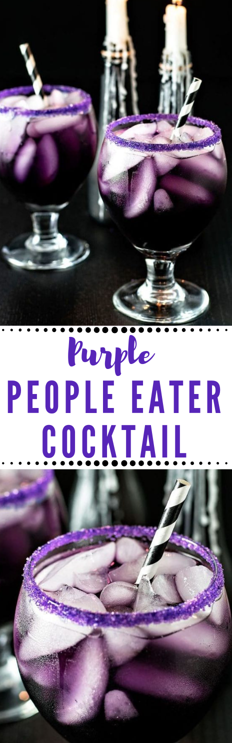 PURPLE PEOPLE EATER COCKTAIL #drink #cocktail #purple #ice #margaritas