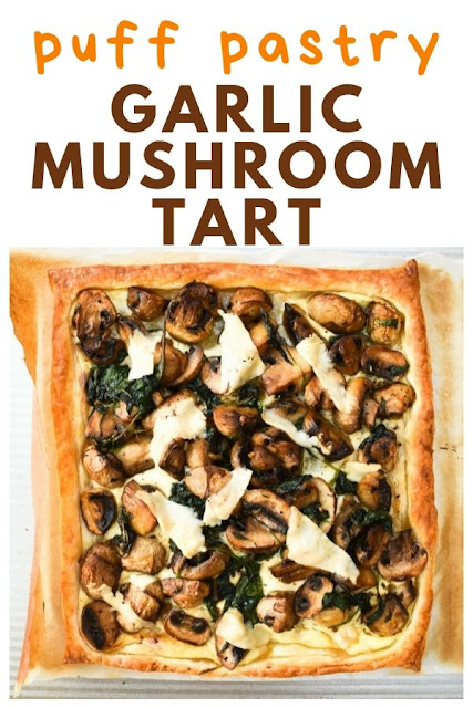 A simple puff pastry tart topped with thyme scented garlic mushrooms and spinach. Suitable for vegetarians and vegans with step-by-step instructions and photos.  A light dinner with tasty leftovers for lunch. #mushroomtart #garlicmushroomtart #mushroompie #mushroomandspinachtart #vegantart #veganpie #vegetarianmushroomtart #vegetarianpie