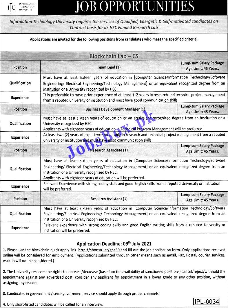Latest Jobs in Information  Technology University  ITU Lahore 2021