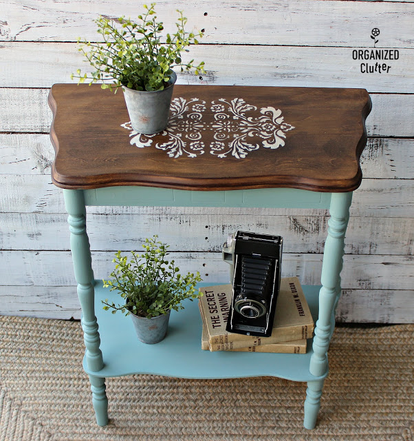 Photo of table upcycled with paint & stencils