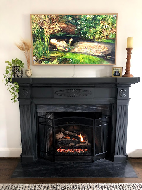 black fireplace surround