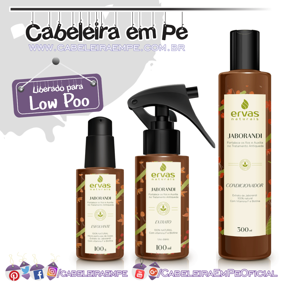 Esfoliante, Condicionador (Liberados para Low Poo) e Extrato (No Poo) Linha Jaborandi - Ervas Naturais
