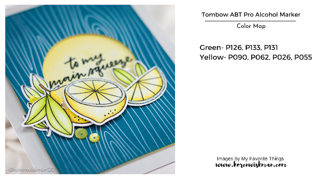 My favorite things, yellow lemons, blue woodgrain, sequins, gray cardstock, stamping, die cutting, adhesive, handmade card, greeting card, mftstamps, to my main squeeze, white background, glitter rim