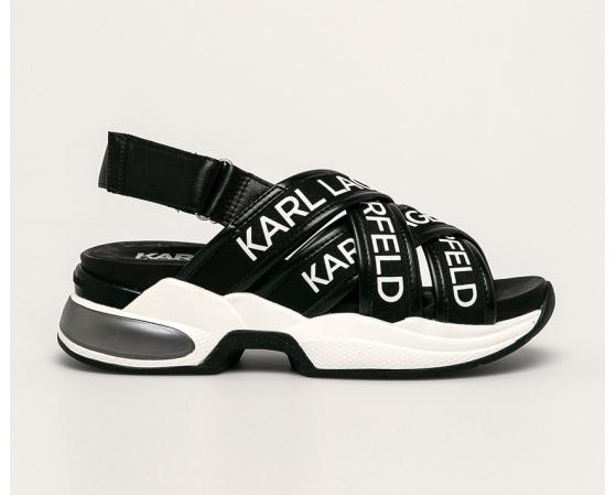 Karl Lagerfeld - Sandale negre fashion din piele naturala cu logo