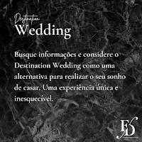 Busque informações e considere o Destination Wedding como uma alternativa para realizar o seu sonho de casar. Uma experiência única e inesquecível.