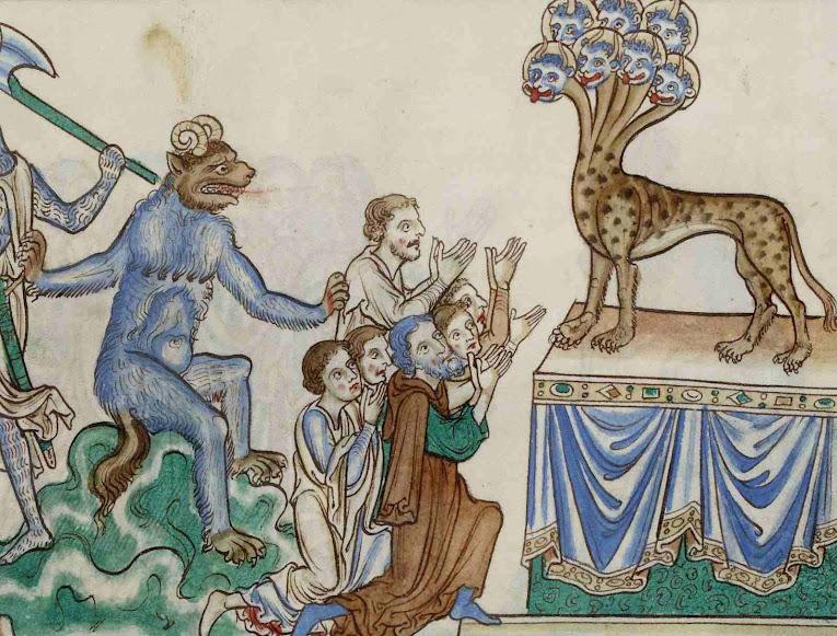Abolirá o culto verdadeiro. BNF Français 403 Apocalypse, Salisbury England, 1275-6
