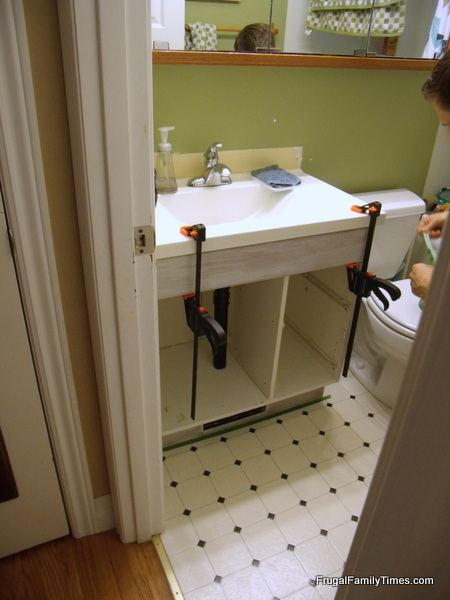 Bathroom Vanity Makeover attaching new top