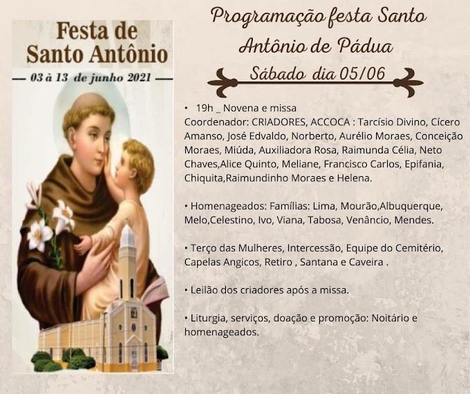Confira a programação da Festa de Santo Antônio de Pádua em Cariré, neste sábado (05/06)
