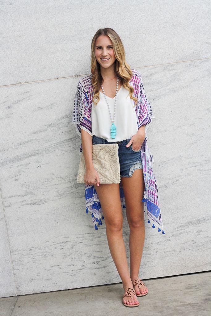 Summer Essentials - pair a white tank and denim with a kimono
