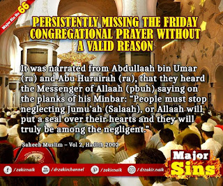 MAJOR SIN.66. PERSISTENTLY MISSING THE FRIDAY CONGREGATIONAL PRAYER WITHOUT A VALID REASON