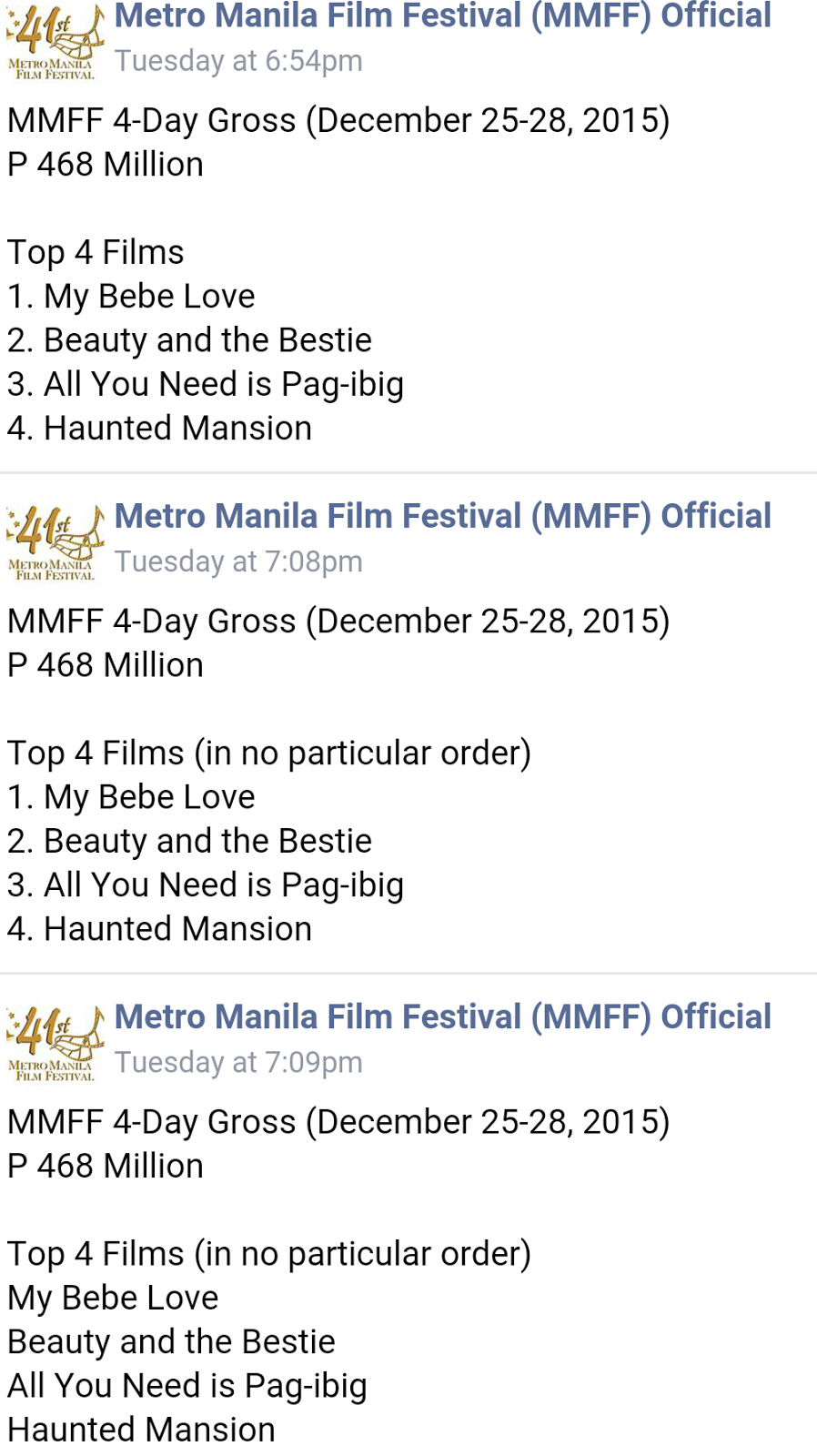 MMFF 2015 Box Office Ranking