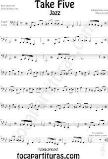 Partitura de Take Five para Chelo y Fagot Paul Desmond Cello and Bassoon Sheet Music by The Dave Brubeck Quartet Recorder. Partituras de Jazz en diegosax Take Five para tocar con tu instrumento y la música original de la canción