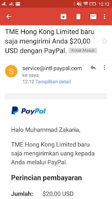 Bukti Pembayaran dari Aplikasi Wesing Android