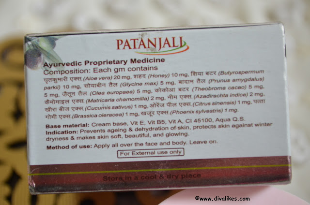 Patanjali Moisturizer Cream Ingredients
