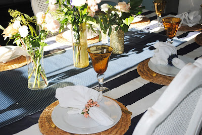 Navy Gold whtie and gold tablescape,gold vases,  birthday dinner, birthday dinne