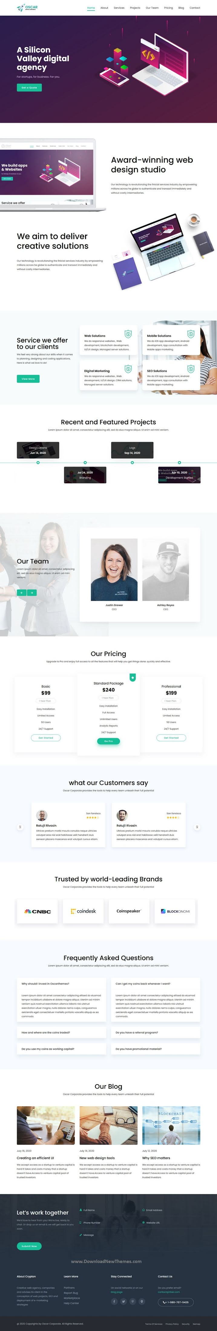 One Page Multipurpose Responsive HTML Template