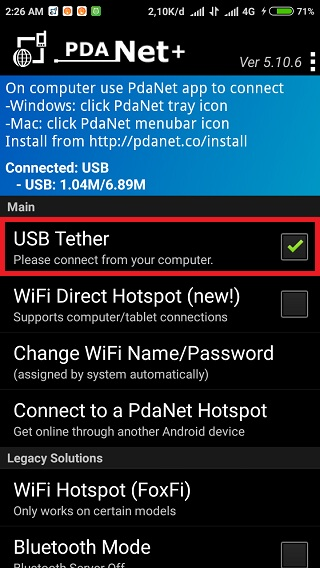 PdaNet USB Tether