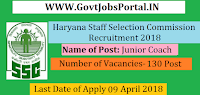 Haryana Staff Selection Commission Recruitment 2018- 130 Junior Coach & Dispenser