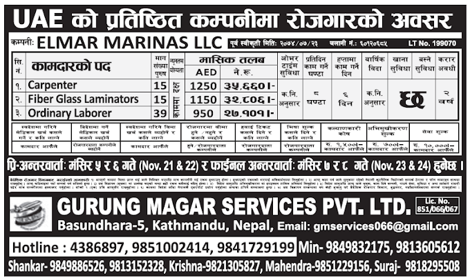 Jobs in UAE for Nepali, Salary Rs 35,660