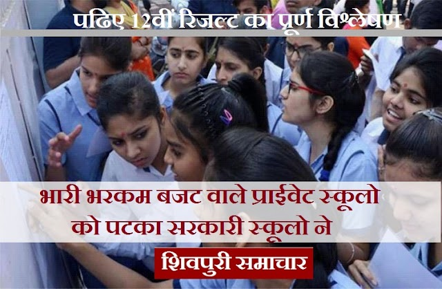 भारी भरकम बजट वाले प्राइवेट स्कूलों को पटका सरकारी स्कूलों ने: पढिए 12वीं रिजल्ट का पूर्ण विश्लेषण / SHIVPURI NEWS