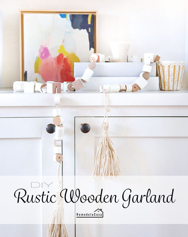Wooden bead garland on bookcase