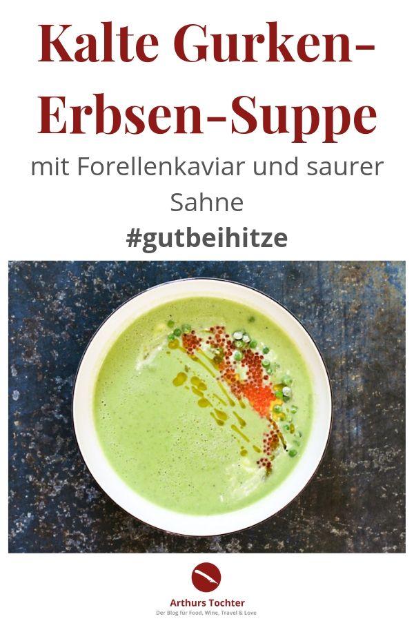 Rezept für eine erfrischend-kalte Gurken-Erbsen-Suppe mit Joghurt, Forellenkaviar und saurer Sahne. Blitzschnell unter 15 Minuten zubereitet und ganz einfach! Schnapp Dir hier das Rezept für die grüne Erfrischung: Das ist: #gutbeihitze #rezept #suppe #kalte #sommer #kaltschale #gurkensuppe #erbsensuppe #gemüse #vegetarisch #fisch #kaviar #forelle #foodstyling #foodphotography #foodblogger #schnell #einfach #thermomix #vitamix #joghurt #kalt #mit_joghurt #arthurstochter