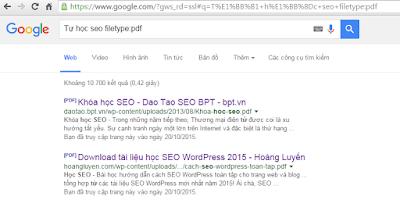 lọc kết quả tìm kiếm theo định dạng file
