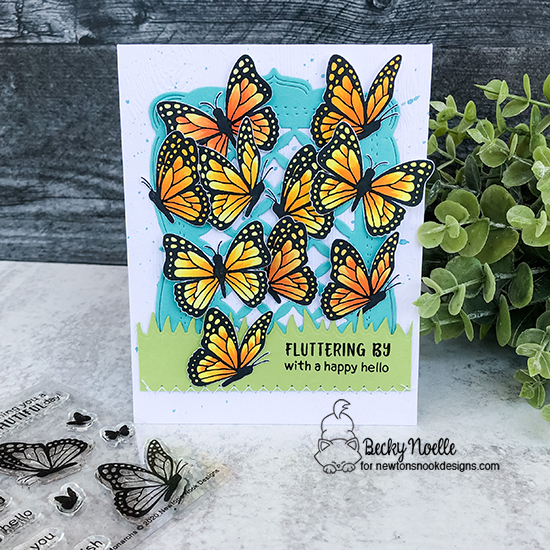 Fluttering by with a happy hello by Becky features Monarchs and Land Borders by Newton's Nook Designs; #newtonsnook